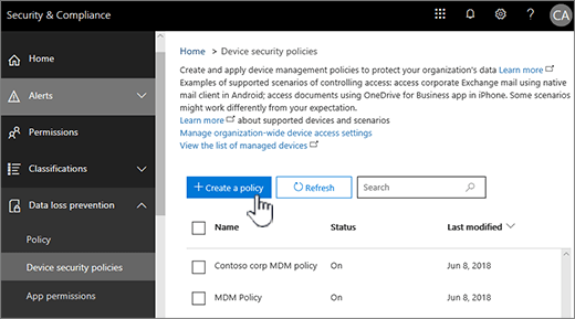 Create device security policies in Basic Mobility and Security - Microsoft  365