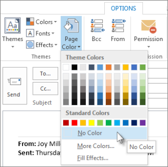 remove or change stationery and color backgrounds on replies and