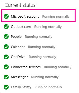 Status of the Microsoft Account service