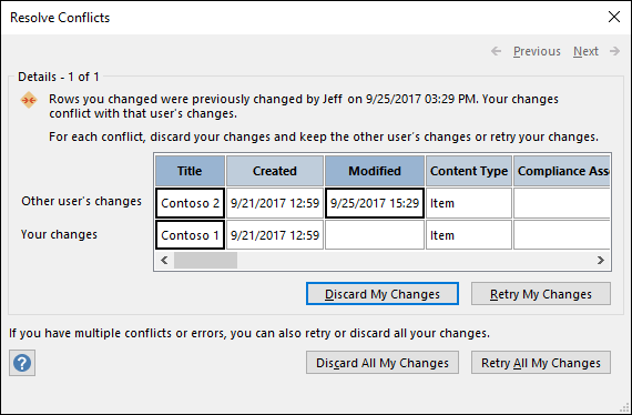 Use the options available on the Resolve Conflicts dialog box to resolve data conflicts.