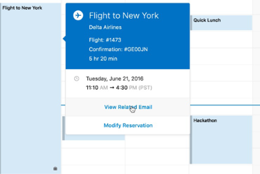 Showing travel card in Outlook Calendar