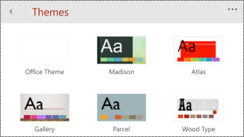 Themes menu in PowerPoint Mobile for Windows Phones.