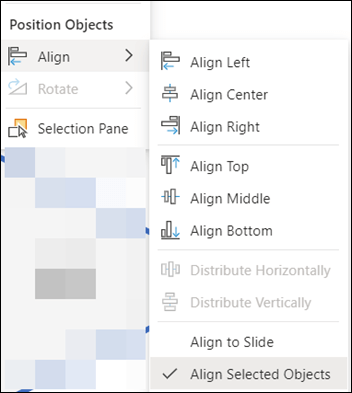 The Align menu in PowerPoint for the web.