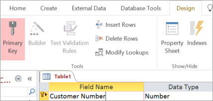 Selecting a primary key field in a new Access table
