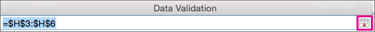 Expand Dialog Box button in the Data Validation box
