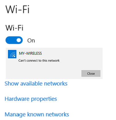Can't connect to network
