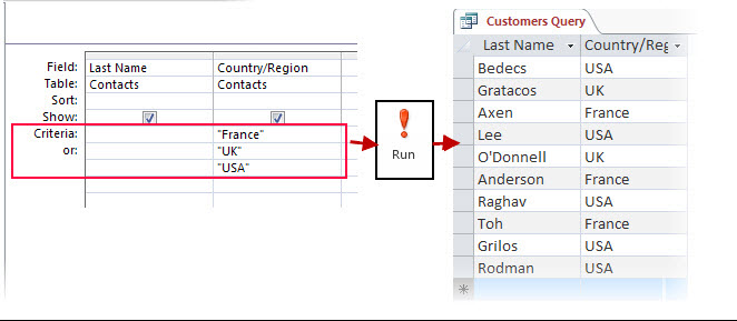 Apply criteria to a query - Access