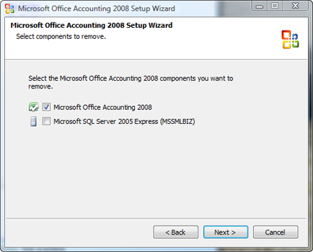 Clear the option to remove the SQL Server instance MSSMLBIZ
