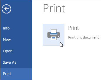 Image of Print button in Word Online