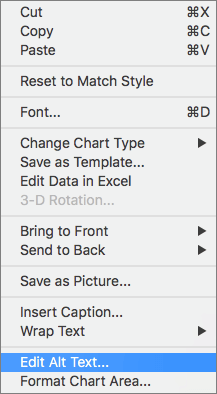 Alt text option in a context menu for adding an alt text to a chart
