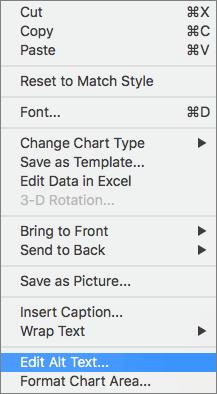 Alt text option in a context menu for adding an alt text to a chart