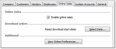 Online Sales preferences tab
