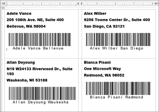 Add barcodes to labels - Word