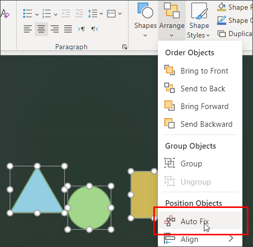 Select Auto Fix from the Arrange menu.