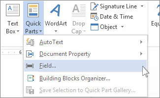 Use fields to insert word count in your document word insert field option on the quick parts menu spiritdancerdesigns Images