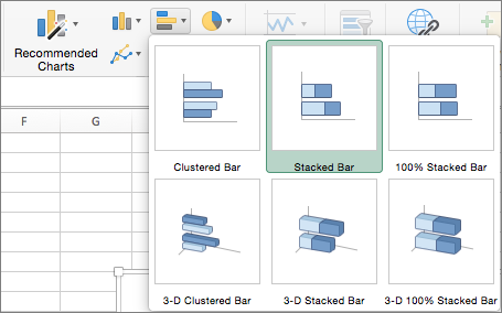 On the Insert tab, select Bar Chart, and then select Stacked Bar Chart