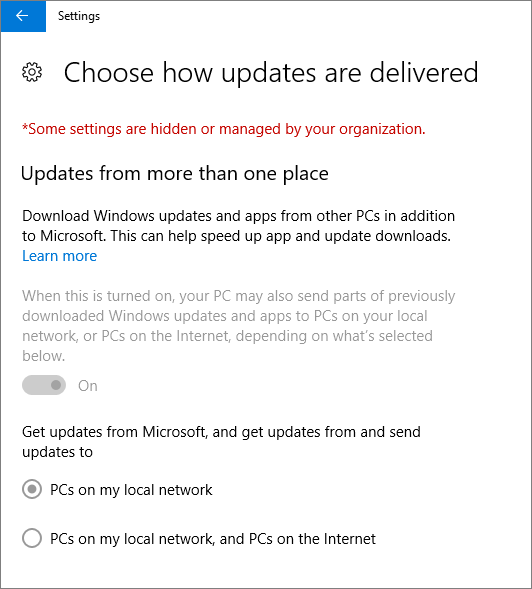 Choose how updates are delivered page indicates settings are hidden or managed by your organization.
