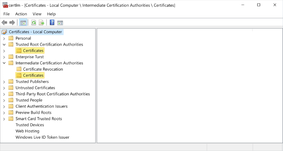 Certificate hierarchy shown on Local Computer