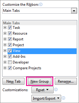 Create a new group in the Project ribbon.