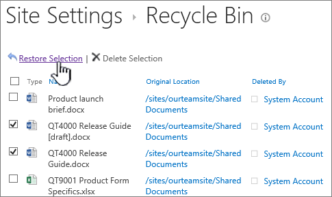 SharePoint 2013 2nd level recycle bin with restore button highlighted