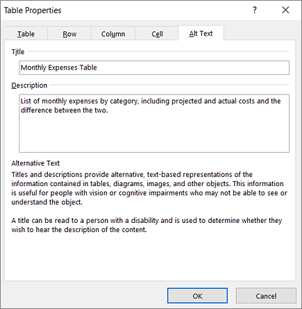 Screenshot of the Alt Text tab of the Table Properties dialog box