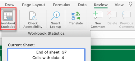 Shows workbook statistics