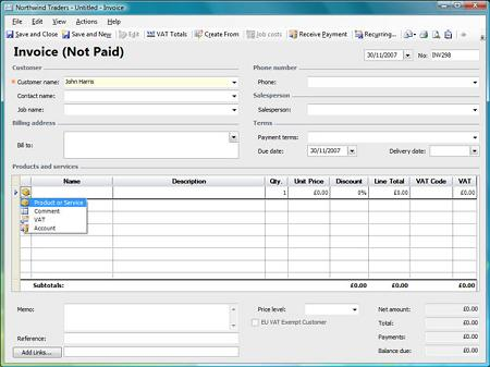 create first invoice
