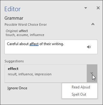 Editor task pane for Grammar