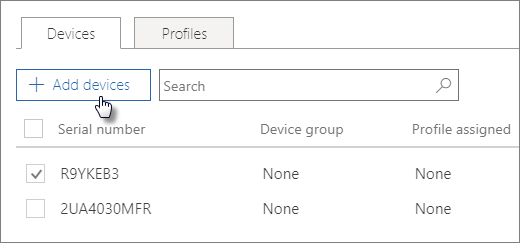 In the Devices tab, choose Add devices.