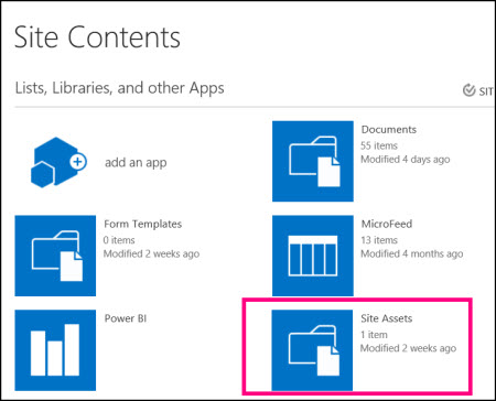 Site Contents page on simple site in SharePoint Online, highlighting Site Assets tile
