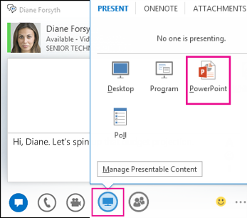 Screenshot of adding PowerPoint to an IM