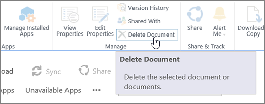 Delete Document button highlighted in Files ribbon