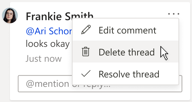 An image of a comment, showing the Delete thread option under the More thread actions menu on the comment card.