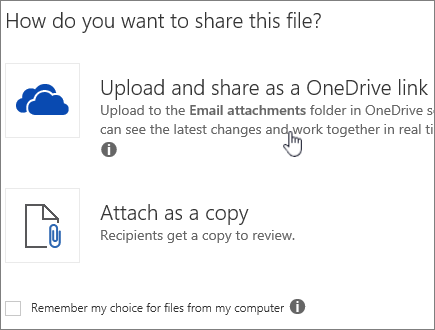 Screenshot of Attachment dialog showing Upload and Attach as a OneDrive file option.