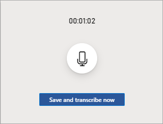 The recording inferface while paused with a timestamp at the top, a resume button in the middle and a Save and transcribe button at the bottom.