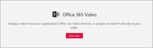 Office 365 Video web part