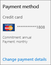 Screen shot of the 'Payment method' section of a Subscription card for a subscription that pays by credit card.