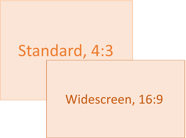 Comparison of standard (left) and widescreen (right) slide-size ratios