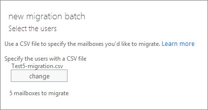 New migration batch with CSV file