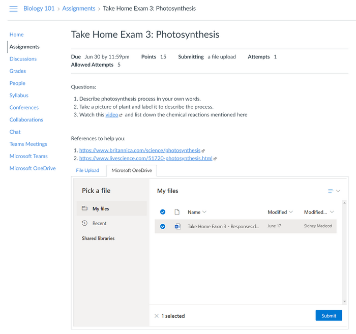 Assignments tab for Pick a file with OneDrive tab highlighted