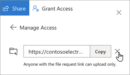 The option for removing an access link in OneDrive for Business
