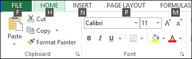 Excel 2013 Ribbon Tip Keys