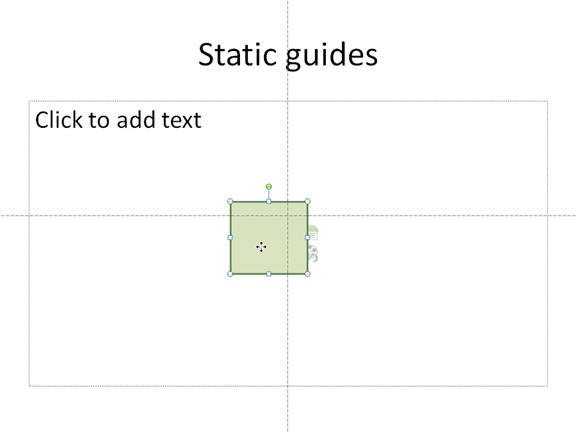 Static horizontal and vertical guidelines show you where the center of the slide is