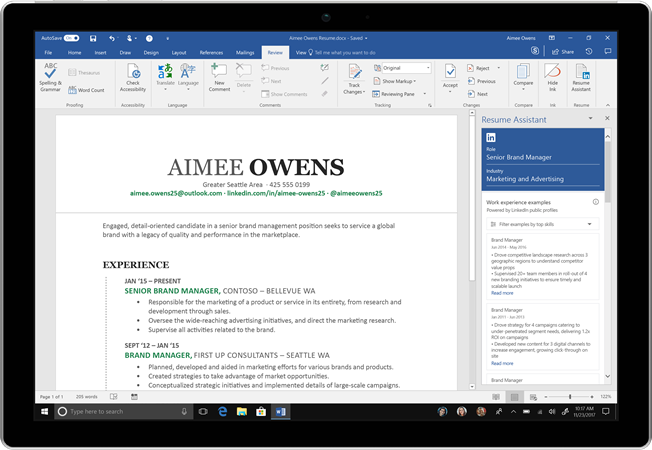 Resume Assistant, powered by LinkedIn, in Word 2016 for Windows
