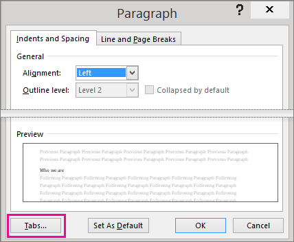 Paragraph dialog box with the Tabs button highlighted.