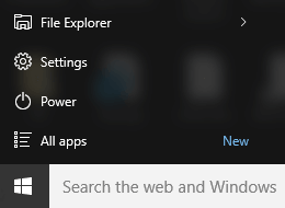 Windows 10 Start Menu Settings app