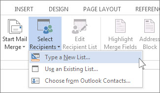 set up a new mail merge list with word word