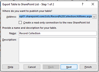 Export to SharePoint dialog box page 1
