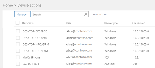 Device actions page.