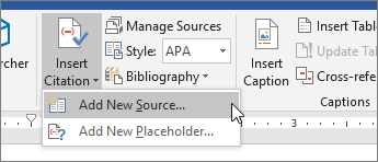 Point to Insert Citation, and choose Add New Source
